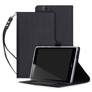 PU Leather Card Slots Magnetic Stand Case with Strap for Huawei MediaPad T3 7.0 (3G) - Black