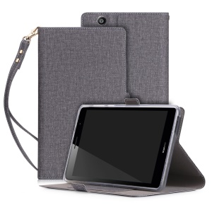 PU Leather Card Slots Magnetic Stand Cover with Strap for Huawei MediaPad T3 7.0 (3G) - Grey