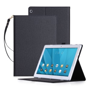 Ultra-thin Leather Stand Card Slots Case with Hand Strap for Huawei Honor Waterplay 10.1 - Black