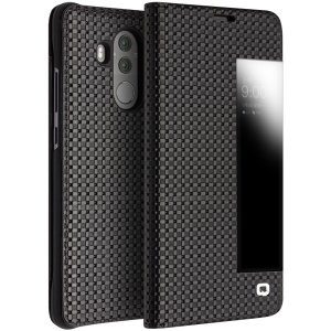 QIALINO for Huawei Mate 10 Pro Grid Texture View Window Genuine Leather Stand Smart Case - Black