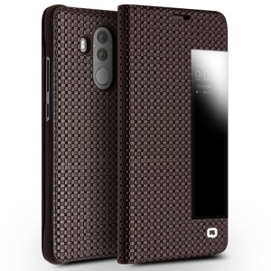 QIALINO Grid Texture Genuine Leather View Window Smart Case Cover for Huawei Mate 10 Pro - Brown