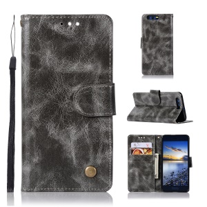 For Huawei Honor 9 Premium Vintage PU Leather Wallet Stand Mobile Casing - Grey