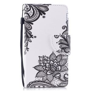 Pattern Printing Wallet Leather Stand Cover for Huawei P10 Lite - Black Flower