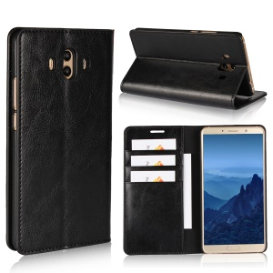 For Huawei Mate 10 Crazy Horse Texture Genuine Leather Wallet Case with Stand - Black