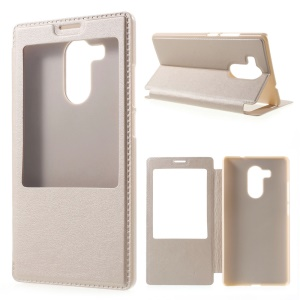 View Window Leather Phone Case for Huawei Mate 8 - Champagne