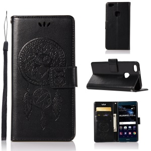 Imprint Owl Dream Catcher Pattern PU Leather Wallet Case for Huawei P10 Lite - Black