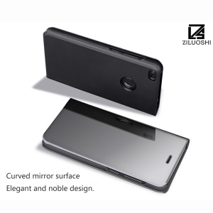 For Huawei P9 Lite (2017) / P8 Lite (2017) / Honor 8 Lite Plated Mirror Surface View Leather Stand Case - Black