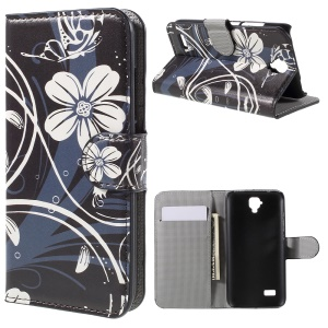 Wallet Leather Stand Case for Huawei Y5 - White Flowers