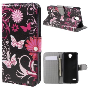 Wallet Leather Stand Cover for Huawei Y5 Y560 - Butterfly Flowers