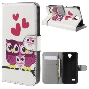 Wallet Leather Stand Cover Case for Huawei Y5 - Adorable Owls and Hearts