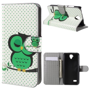 Wallet PU Leather Stand Cover for Huawei Y5 - Sleeping Owl on the Branch