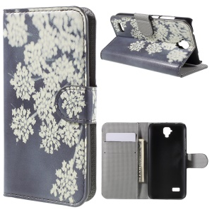 Protective Leather Stand Cover for Huawei Y5 Y560 - Beautiful Flowers