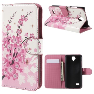 Magnetic Leather Stand Cover for Huawei Y5 - Plum Blossom