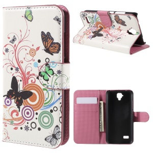 Wallet Leather Stand Cover for Huawei Y5 - Butterfly Circles