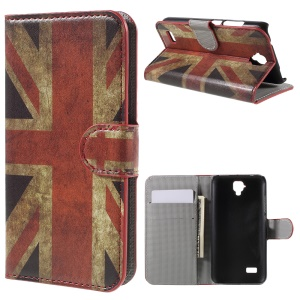 Leather Stand Cover with Card Slots for Huawei Y5 - Vintage UK Flag