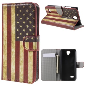 Wallet Leather Protective Case for Huawei Y5 - Retro American Flag