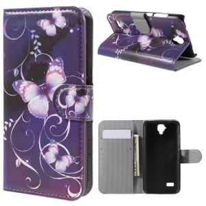 Wallet Leather Stand Cover for Huawei Y5 - Purple Butterfly