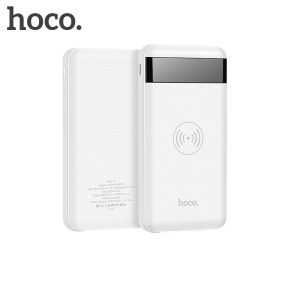 HOCO JJ11 LCD Display Power Bank 10000mAh Qi Wireless Charger for iPhone X/8/8 Plus etc. - White