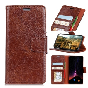 Textured Split Leather Card Holder Case for Huawei P Smart / Enjoy 7S - Brown