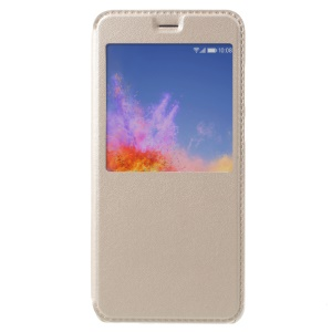 Window View Leather Phone Flip Phone Case with Stand for Huawei Honor 7X - Gold
