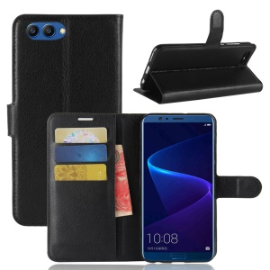 Litchi Skin PU Leather Wallet Stand Phone Shell for Huawei Honor View 10 / V10 - Black
