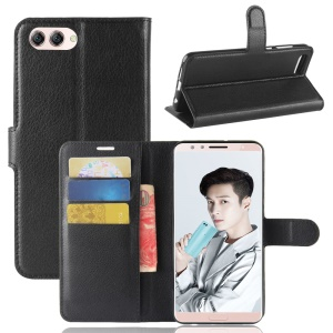 Litchi Skin PU Leather Wallet Stand Phone Shell for Huawei nova 2s - Black