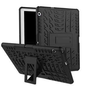 Tyre Pattern Kickstand PC + TPU Hybrid Cover for Huawei MediaPad T3 10 (9.6inch) - Black