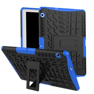 Tyre Pattern Kickstand PC + TPU Hybrid Mobile Cover for Huawei MediaPad T3 10 (9.6inch) - Blue