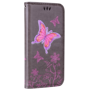 Flash Powder Butterfly Flower Leather Wallet Stand Case for Huawei P8 Lite (2017) / Honor 8 Lite - Grey