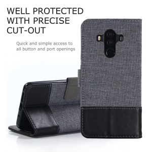 MUXMA Splicing PU Leather Canvas Wallet Phone Cover for Huawei Mate 10 Pro - Black