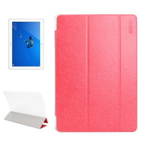 ENKAY Silk Texture Tri-fold Stand Smart Leather Tablet Case for Huawei Honor Waterplay - Red