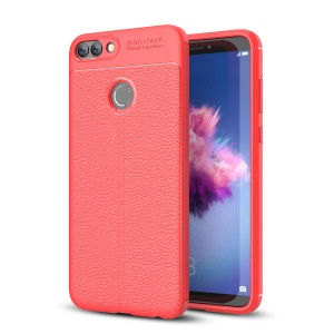 Litchi Texture Soft TPU Back Mobile Case for Huawei P Smart / Enjoy 7S - Red