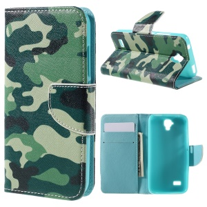 Leather Wallet Phone Case Cover for Huawei Y5 Y560 - Camouflage