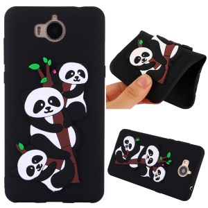 Cute 3D Pandas and Bamboo TPU Back Case for Huawei Y6 (2017) / Y5 (2017) - Black