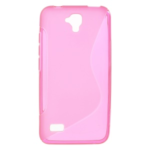 S Shape Soft TPU Skin Case Cover for Huawei Y5 Y560 - Rose