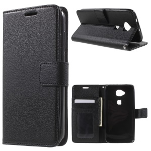 Lychee Photo Slot Wallet Leather Cover for Huawei G8 / D199 Maimang 4 - Black