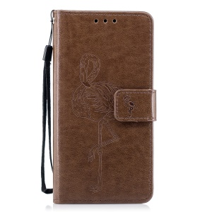 Imprinted Flamingo PU Leather Card Holder Cover Case for Huawei P10 Lite - Brown
