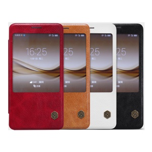 NILLKIN Qin Series Window View Leather Smart Case Cover for Huawei Mate 8 / Ascend Mate8 - Red