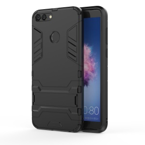 Cool Guard Plastic TPU Hybrid Case with Kickstand for Huawei P Smart / Enjoy 7S - Black