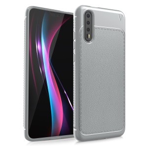 IVSO Gentry Series for Huawei P20 Litchi Texture Leather Coated TPU Gel Cover - Grey