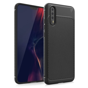 IVSO Gentry Series for Huawei P20 Pro Litchi Texture Leather Coated TPU Phone Casing - Black