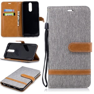 Two-tone Jean Cloth Wallet Leather Cover for Huawei Mate 10 Lite / nova 2i / Maimang 6 / Honor 9i (India) - Grey