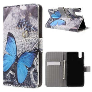 Wallet Leather Stand Cover for Huawei Honor 7i - Blue Butterfly