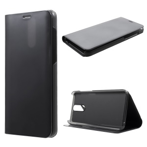 Plated Mirror Surface Information View Stand Leather Smart Case for Huawei Mate 10 Lite/nova 2i/Maimang 6/Honor 9i (India) - Black