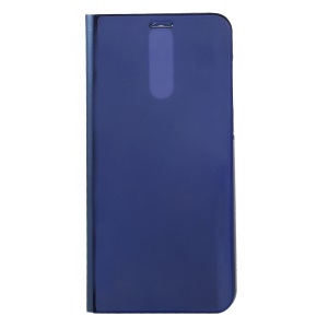 Plated Mirror Surface Information View Stand Leather Smart Mobile Phone Case for Huawei Mate 10 Lite/nova 2i/Maimang 6/Honor 9i (India) - Blue