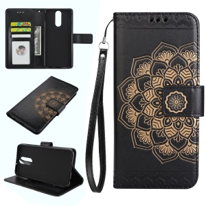 For Huawei Mate 10 Lite / nova 2i / Maimang 6 / Honor 9i (India) Imprinted Mandala Pattern Leather Wallet Mobile Casing - Black
