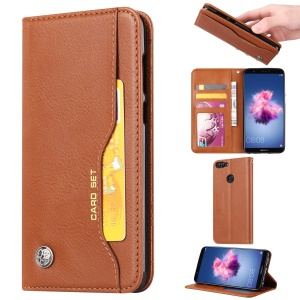 PU Leather Wallet Stand Accessory Case for Huawei P Smart / Enjoy 7S - Brown