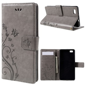 Butterfly Pattern Wallet Leather Stand Cover for Huawei Ascend P8 Lite - Grey