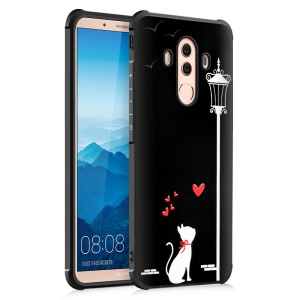 Wrapped Edges Soft Embossed TPU Mobile Cover for Huawei Mate 10 Pro - Love Cat