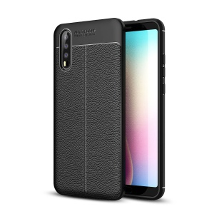 Litchi Grain Soft TPU Back Cover for Huawei P20 - Black